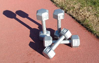 San Francisco boot camp - weights at San Francisco's Kezar stadium, outdoor fitness venue in SF Golden Gate Park
