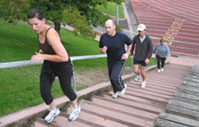 Boot camp stairs - running stairs in outdoor fitness boot camp at Kezar Stadium in San Francisco